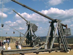Battery of trebuchets, an impressive sight in a beautiful setting.